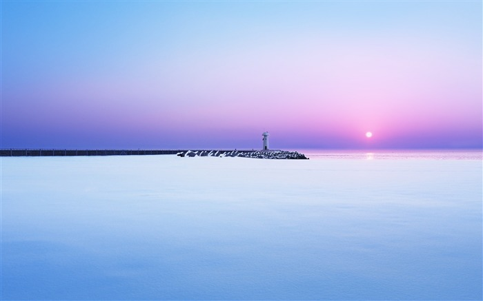 Sunrise Calm beach lighthouse-HD Retina Wallpaper Views:1602