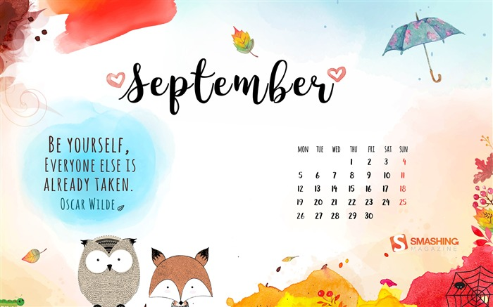September 2016 Calendar Desktop Themes Wallpaper Views:12043