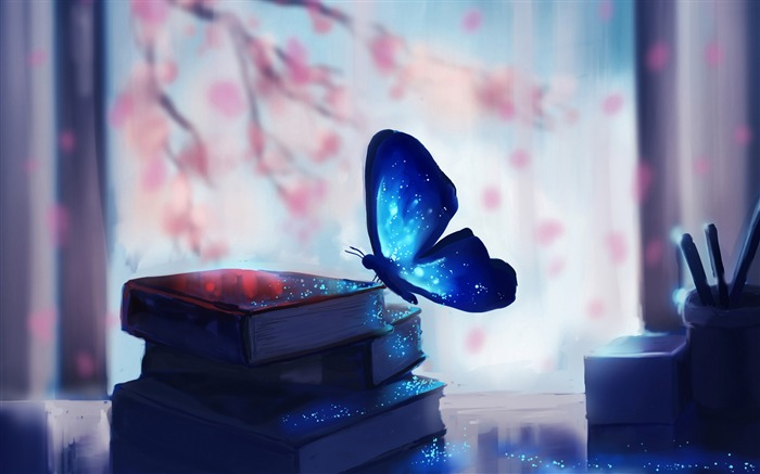 Blue butterfly books magic-2016 Art Design HD Wallpaper Views:2278