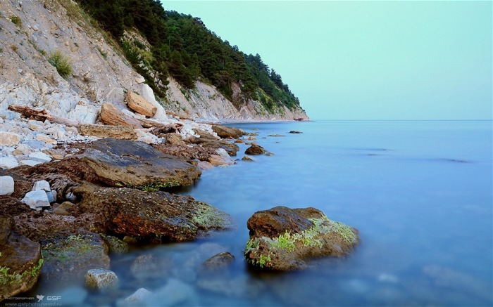 Coast stones moss rocks smooth-Nature scenery wallpaper Views:1588