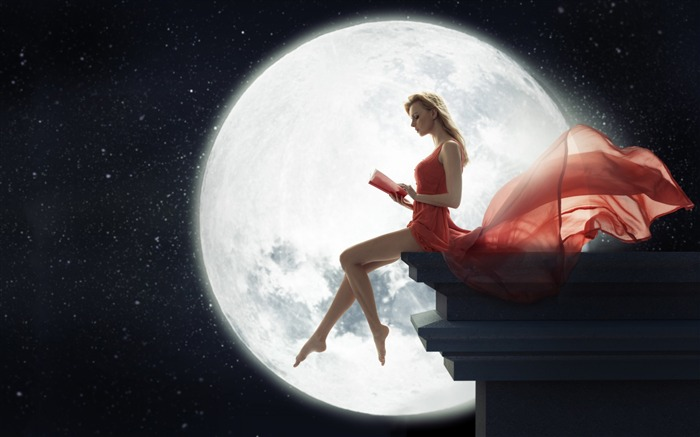 Girl moon red dress night-2016 Art Design HD Wallpaper Views:1873