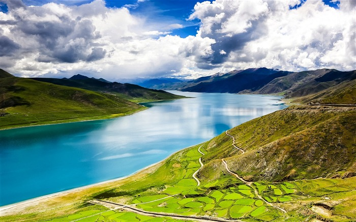 Tibet YamdrokTso Paradise Lake Photo Wallpaper Views:2669