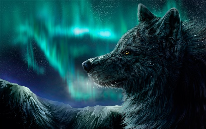 Wolf aurora polaris-2016 Art Design HD Wallpaper Views:1434