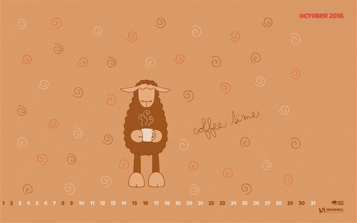 Coffee Time-October 2016 Calendar Wallpaper Views:1299