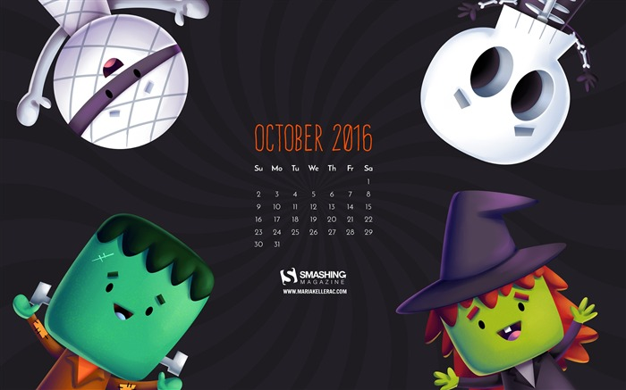 October 2016 Calendar Desktop Themes Wallpaper Views:4483