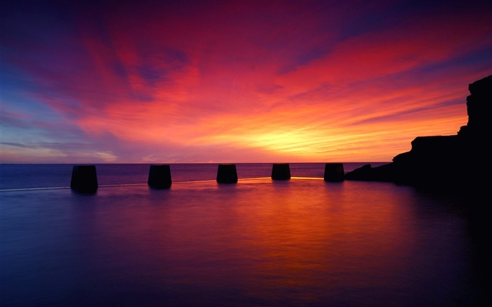 Evening sunset sky ocean bridge-Nature High Quality Wallpaper Views:1557