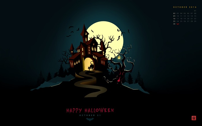 Happy Halloween-October 2016 Calendar Wallpaper Views:1472