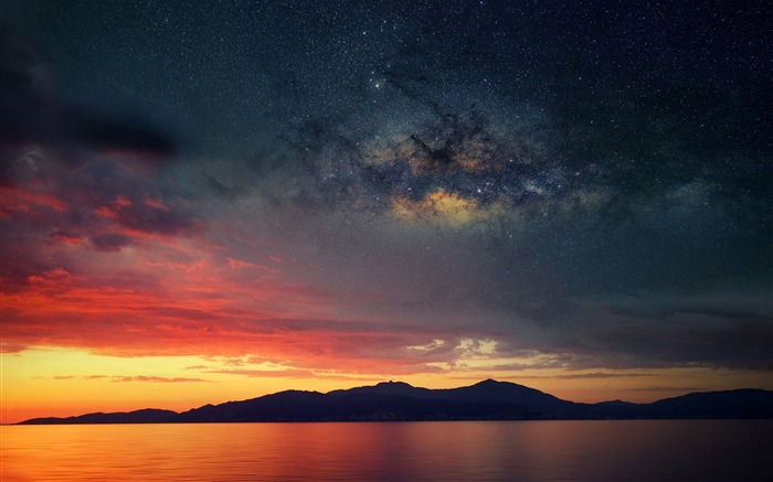 Island sunset nebula space-Nature High Quality Wallpaper Views:1232