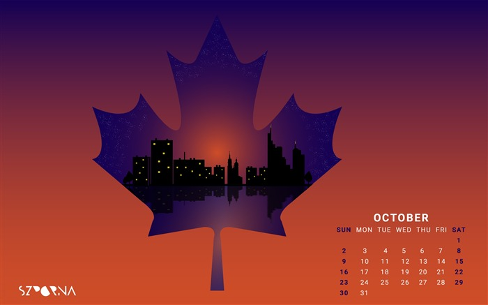 Leaf City Night-October 2016 Calendar Wallpaper Views:1678