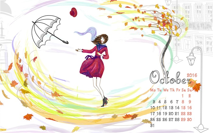 Leaves Dance-October 2016 Calendar Wallpaper Views:1502