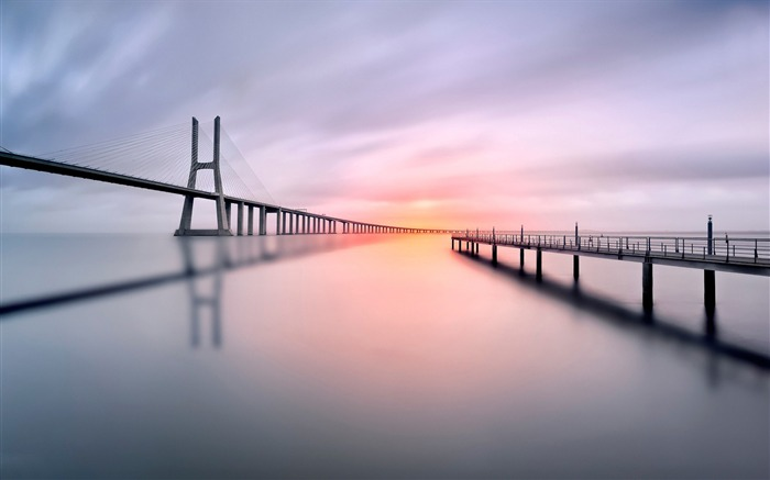Lisbon Pier Bridge Long Exposure-Nature High Quality Wallpaper Views:1066