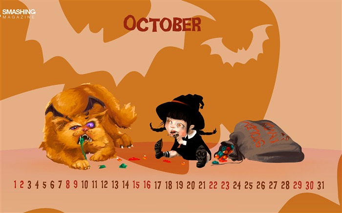 Omnomnom Tober-October 2016 Calendar Wallpaper Views:1178