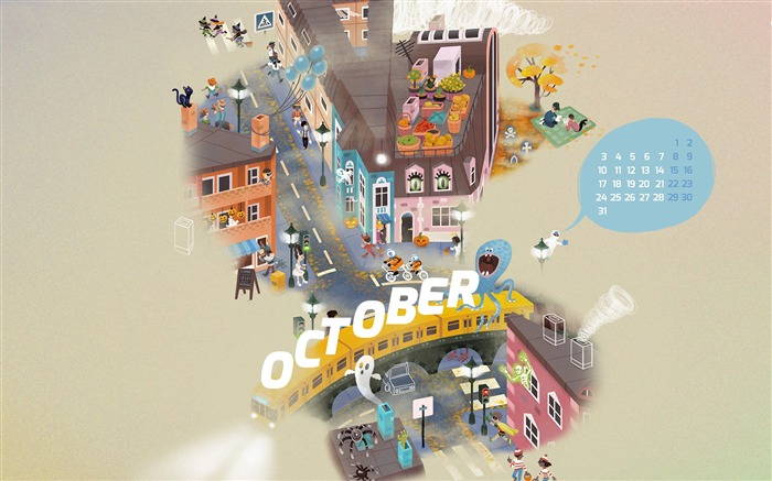 Spooky Town-October 2016 Calendar Wallpaper Views:1225