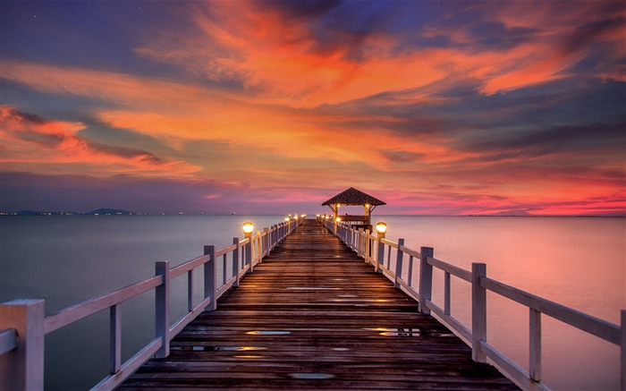 Sunrise ocean pier beach-Nature High Quality Wallpaper Views:956