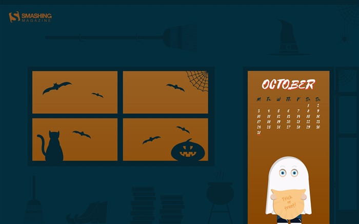 Trick Or Treat-October 2016 Calendar Wallpaper Views:1480