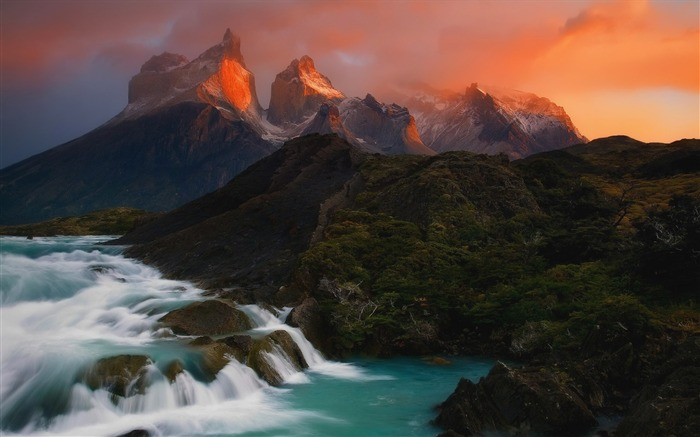 Chile andes mountains sunsets waterfalls-Nature Photo HD Wallpaper Views:1623