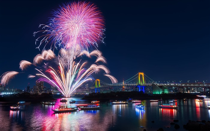 Firework celebrations over the river-Cities Photo HD Wallpaper Views:1312