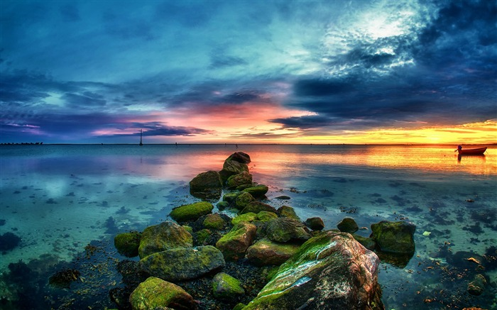 Germany sunset beach sun rocks-Nature Photo HD Wallpaper Views:987