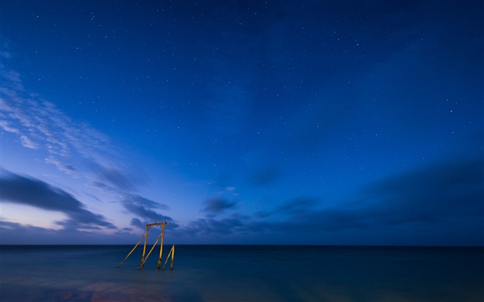 Night sea beach stars sky-Scenery High Quality Wallpaper Views:7350 Date:10/23/2016 6:53:02 PM