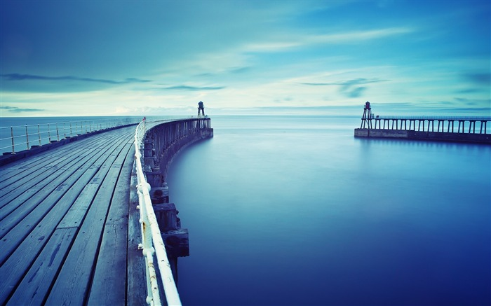 Oceans Blue Piers Docks Sea-Nature Photo HD Wallpaper Views:1437