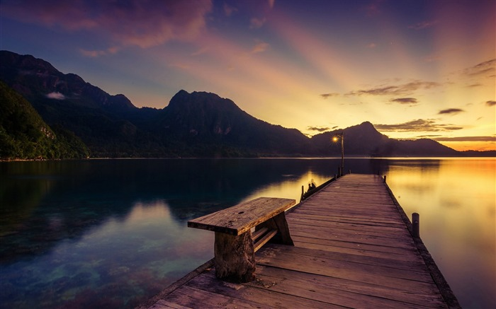 sunrise mountains lake pier sunrays-Nature Photo HD Wallpaper Views:1679