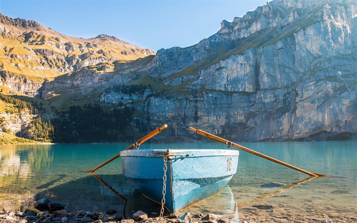 Boat and rock mountains lakes-Travel HD Wallpaper Views:1943