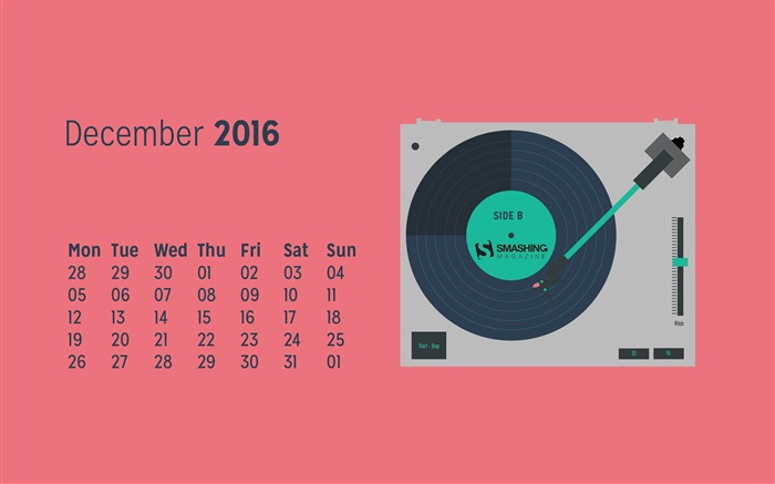 Play The Last Song Of The Year-December 2016 Calendar Wallpaper Views:732