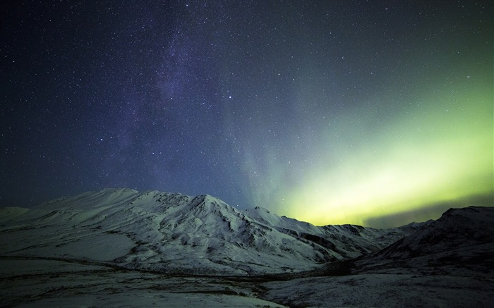 Snow Night Mountains Northern Lights Milky Way-Travel HD Wallpaper Views:1056