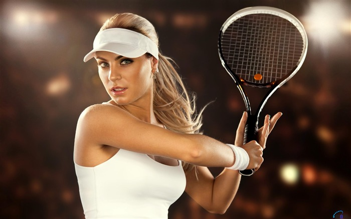 Tennis player with racket-Sports Poster Wallpaper Views:667