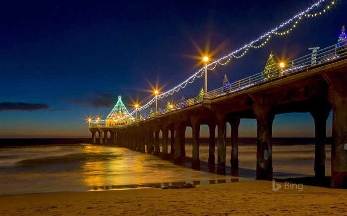California Manhattan Beach Pier-2016 Bing Desktop Wallpaper Views:1042