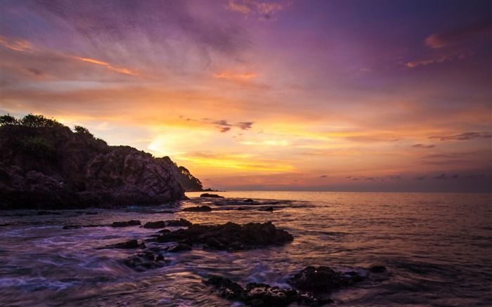Dawn mexico beach ocean rock-World Travel HD Wallpaper