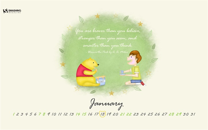 Happy Birthday A A Milne-January 2017 Calendar Wallpaper