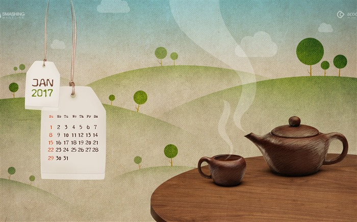 Happy Hot Tea Month-January 2017 Calendar Wallpaper