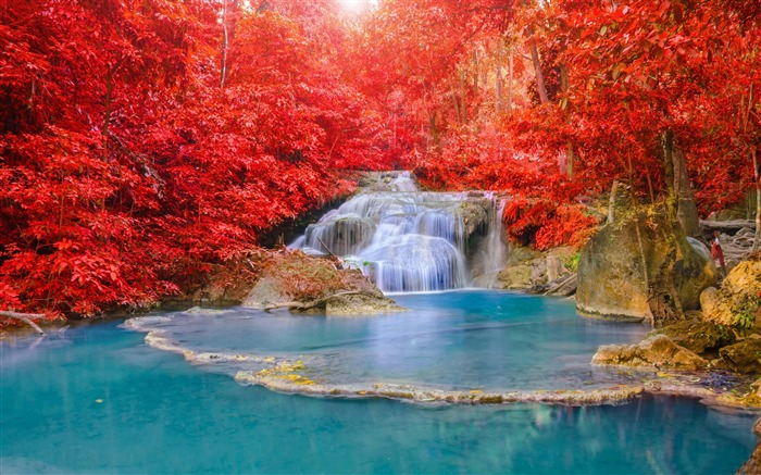 Red forest waterfall turquoise lake-Nature High Quality HD Wallpaper Views:7933 Date:12/10/2016 10:26:16 PM