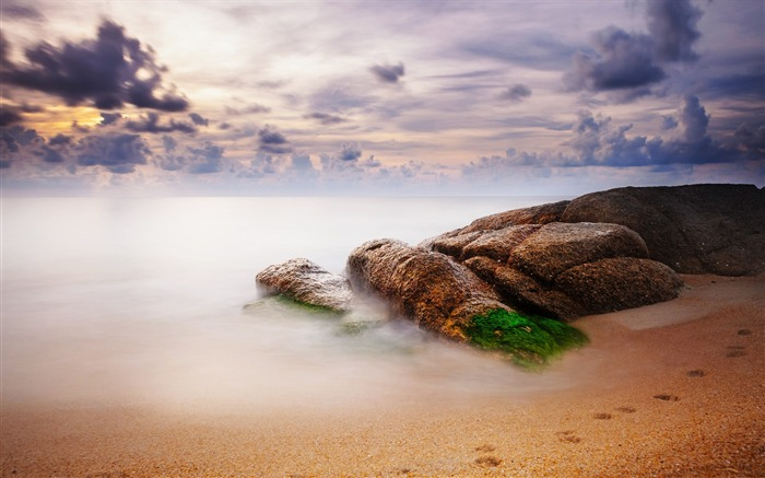 Stones sand moss traces-World Travel HD Wallpaper Views:931