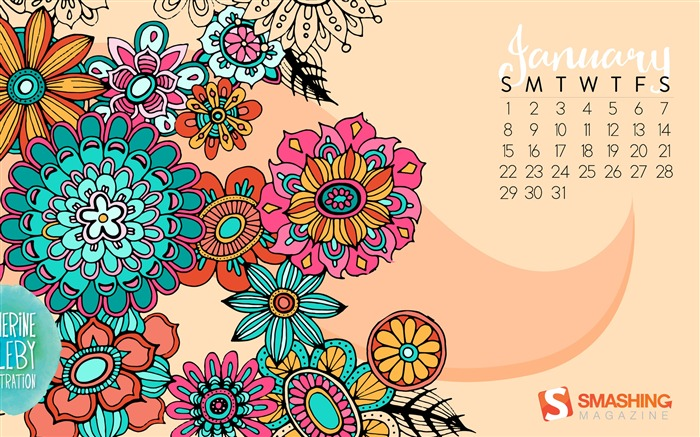 Summer Celebration-January 2017 Calendar Wallpaper