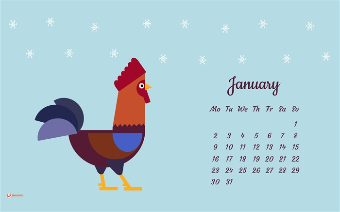 The Rooster Wishes You A Happy New Year-January 2017 Calendar Wallpaper Views:766