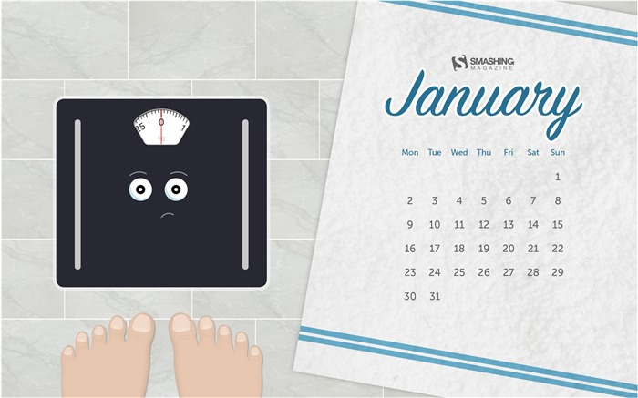 The Worried Weighing Scales-January 2017 Calendar Wallpaper Views:912
