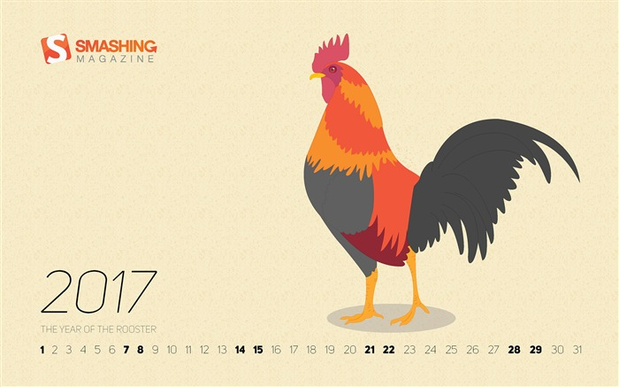 The Year Of The Rooster-January 2017 Calendar Wallpaper Views:799