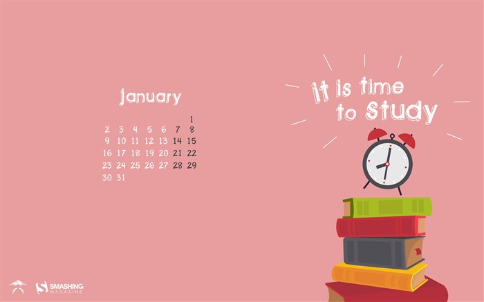 Wake Up Its Time To Study-January 2017 Calendar Wallpaper Views:574