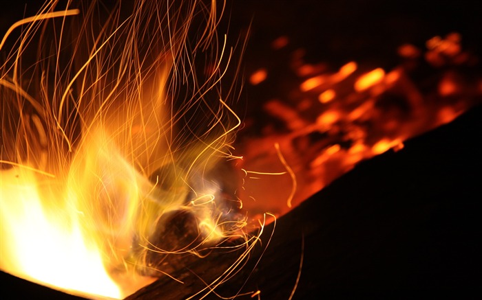 Burning coal fire close-up-Life Photography HD Wallpaper Views:959