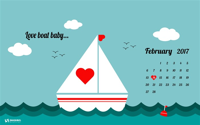 Love Boat Baby-February 2017 Calendar Wallpaper Views:1690