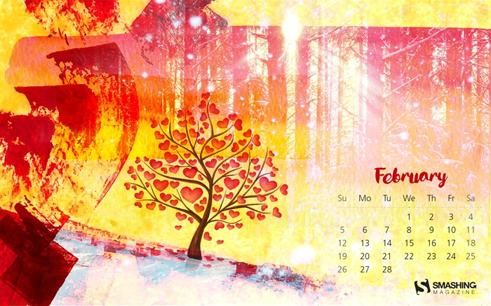 Love In Winter-February 2017 Calendar Wallpaper Views:804
