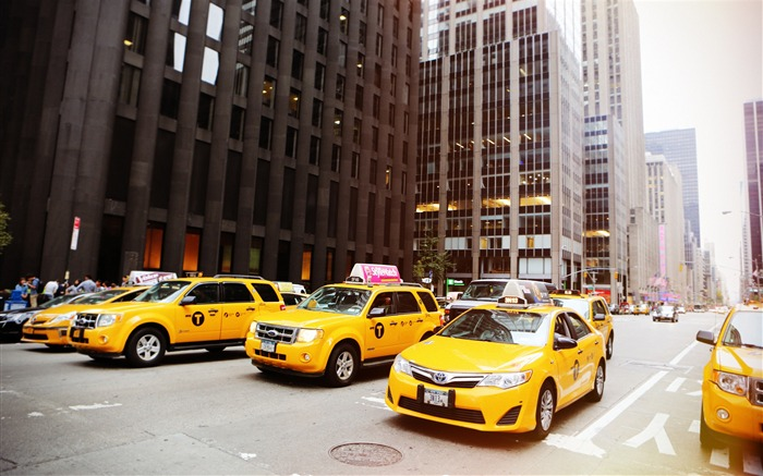 New York street cabs taxis-Cities Photography HD Wallpaper Views:1303