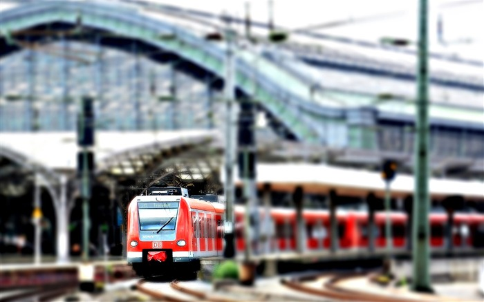 Red train station on overcast-Cities Photography HD Wallpaper Views:1189