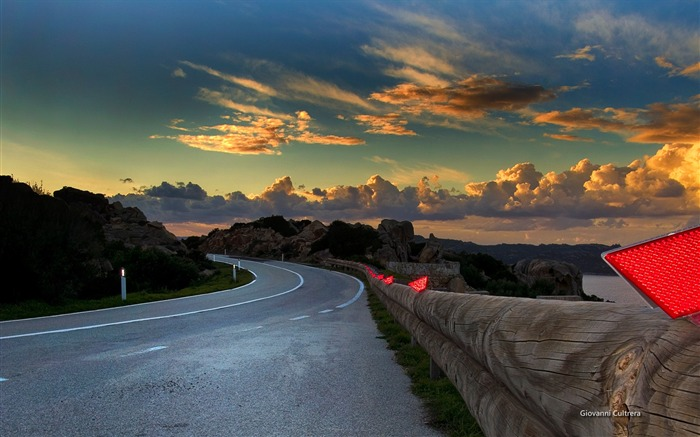 Coast Road Morning-Italy Peninsula Sardinia Wallpaper