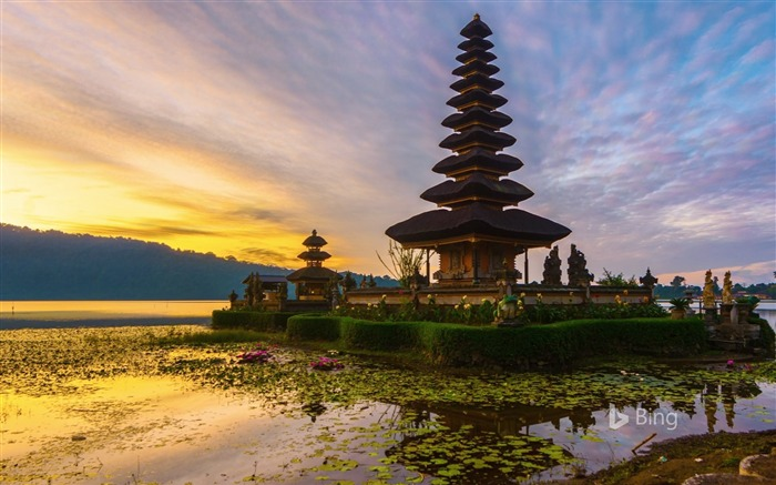 Indonesia Sunrise Temple in Bali-2017 Bing Desktop Wallpaper