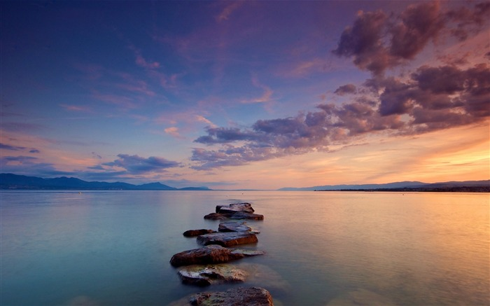 Stones path sea clouds silence-High Quality Wallpaper Views:733