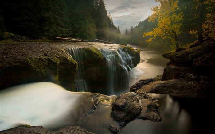 Stones river falls autumn trees evening-High Quality Wallpaper Views:474