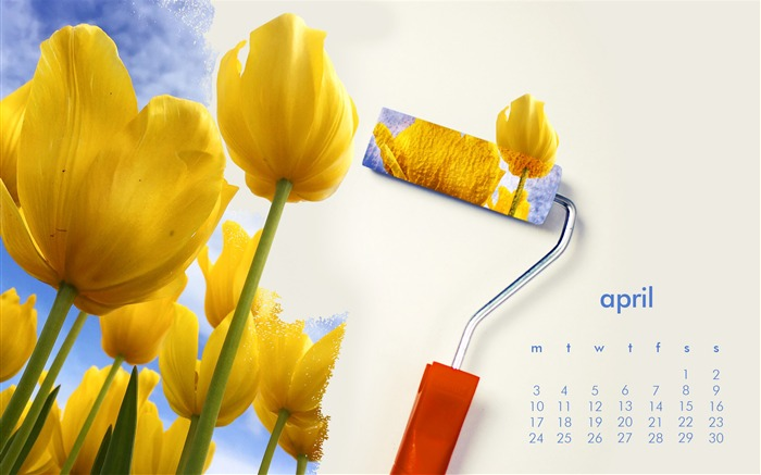 Flowers On The Wall-April 2017 Calendar Wallpaper